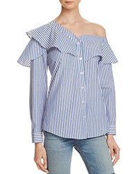 Bardot Ruffle And Frill Shirt 100 Bloomingdale's Exclusive Blue Stripe