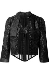 Dolce And Gabbana Cropped Layered Stretch Tulle Embroidered Silk Blend Taffeta Jacket Black