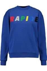 Etre Cecile Rapide Boyfriend Flocked Printed Cotton Sweatshirt Royal Blue