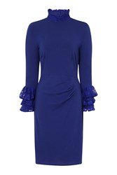 Hotsquash Clever Fabric Highneck Lace Detail Dress Royal Blue
