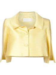 Christian Siriano Striped Cropped Jacket Yellow And Orange