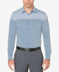 Perry Ellis Men's Colorblocked Cotton Shirt Blue Wing Teal