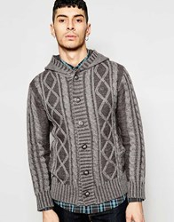 Ringspun Rinspun Cable Knit Button Through Hoodie Grey
