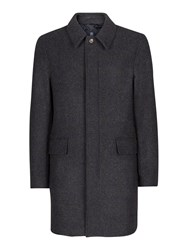 Aquascutum London Men's Barrett Check Overcoat Charcoal