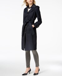 Anne Klein Hooded Belted Maxi Trench Coat Navy