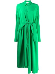 Christian Wijnants Dani Draped Shirt Dress Green