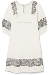 The Great Lovely Embroidered Cotton Gauze Dress Cream