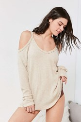 Out From Under Cold Shoulder Cozy Thermal Top Ivory