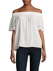 Ramy Brook Jessica Smocked Off The Shoulder Top Cream