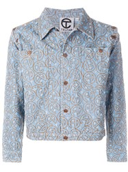 Telfar Embroidered Denim Jacket Blue