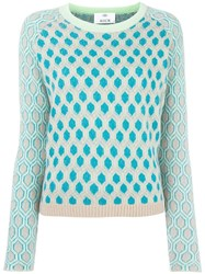 Allude Honeycomb Pattern Jumper Green