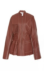 Loewe Leather Mock Neck Jacket Brown