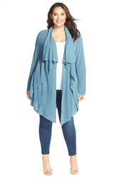 Plus Size Women's Nic Zoe 'Great Lengths' Drape Front Cardigan Stone Blue