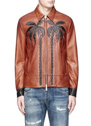 Dsquared Palm Tree Applique Sheepskin Leather Bomber Jacket Brown