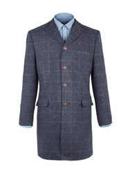 Gibson Men's Navy Herringbone With Gold Check Long Jacket Navy