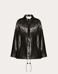 Valentino Leather And Lace Jacket Black 75 Poliammide 25 Cotone