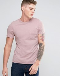 Jack And Jones Originals T Shirt With Raw Edge Pocket Textured Neck Detail Deauville Mauve Pink