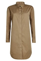 Closed Cotton Shirt Dress With Linen