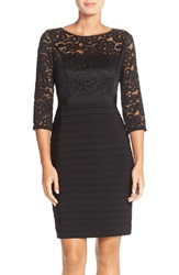 Adrianna Papell Lace And Jersey Sheath Dress Black