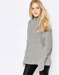 Vila Indie High Neck Textured Jumper In Grey Indie High Neck