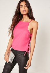 Missguided Tie Side Cami Top Pink