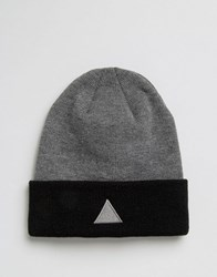 Asos Beanie With Triangle Embroidered Logo Charcoal Grey