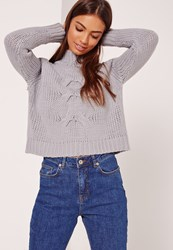 Missguided Grey Grown On Neck Chunky Cropped Jumper