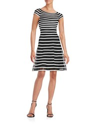 Betsy And Adam Striped Fit Flare Dress Black White