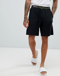 Calvin Klein Lounge Shorts With Camo Waistband Black