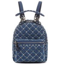 Valentino Garavani Rockstud Spike Mini Denim Backpack Blue