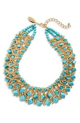 Natasha Couture Women's Chain And Stone Statement Necklace Turquoise