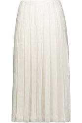 Prada Pleated Silk Gauze Midi Skirt Ivory