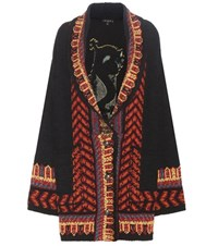 Etro Knitted Metallic Wool Blend Coat With Jacquard Multicoloured