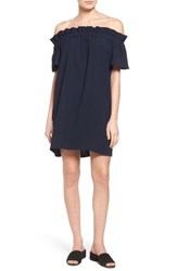 Pleione Women's Off The Shoulder Dress Navy