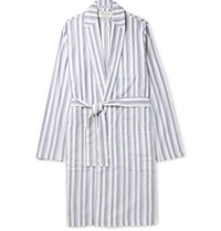 Oliver Spencer Loungewear Striped Organic Cotton Robe Blue