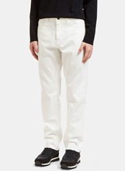Valentino Raw Edged Oversized Jeans White