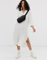 Weekday Collarless Shirt Dress In Off Beige