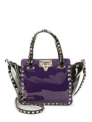 Valentino Rockstud Colorblock Patent Leather Tote Purple