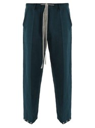 Umit Benan Drawstring Waist Linen Blend Twill Trousers Green