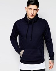 Dead Vintage Cowl Neck Sweat With Kangaroo Pocket Navy
