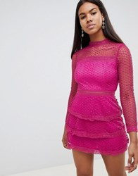 Ax Paris Long Sleeve Crochet Lace Mini Dress With Tiered Skirt Pink