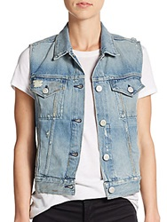 3X1 Distressed Denim Vest Pike Blue