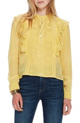 Scotch And Soda Ruffle Embroidered Eyelet Top 2118 Cheddar