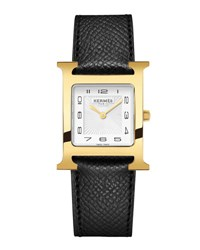 Hermes Heure H Mm Watch With Black Leather Strap