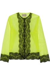 Christopher Kane Lace Trimmed Neon Tulle Jacket