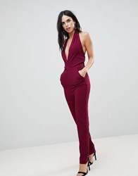 Ax Paris Plunge Front Jumpsuit Purple