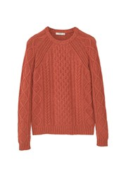 Mango Men's Cable Knit Wool Blend Sweater Orange