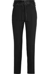 Haider Ackermann Lace Up Satin Trimmed Wool Slim Leg Pants Black