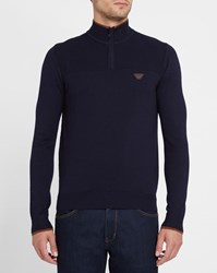 Armani Jeans Navy And Camel Chest Logo Two Tone Zipped Polo Neck Sweater Blue