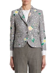 Thom Browne Lily Embroidered Wool And Mohair Jacket Light Grey